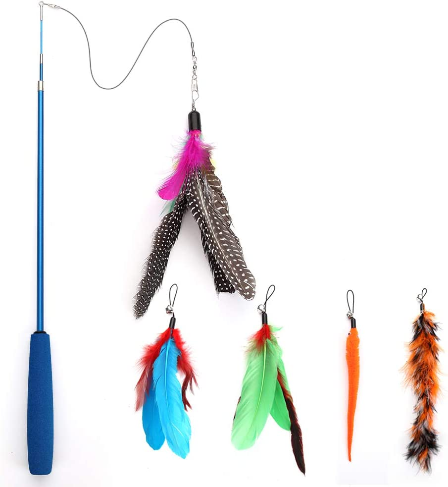 trust Feather Teaser Genuine Free Shipping Cat Toy 5 Wand with Retractable