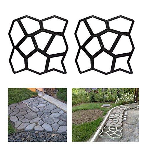 HG® 2X D.I.Y Pflasterform Gehweg Betonpflaster Gießform Garten Schablone mit 9 Kammer 43 x 43 x 4cm