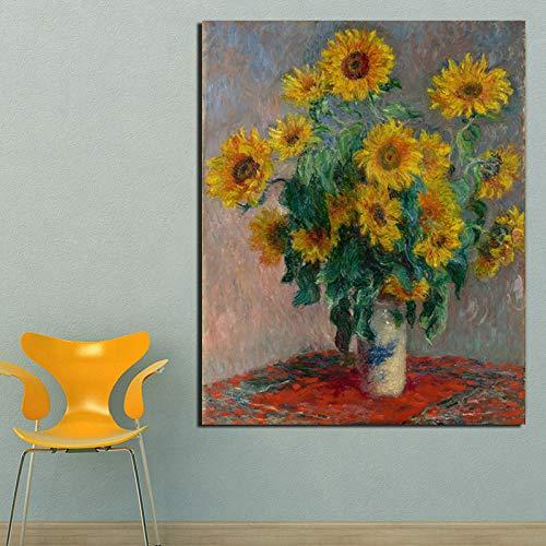 KWzEQ Berühmte Künstler drucken Leinwand Malerei Sonnenblume Tapete Wohnzimmer Hauptdekoration Ölgemälde Poster,Rahmenlose Malerei,40x50cm