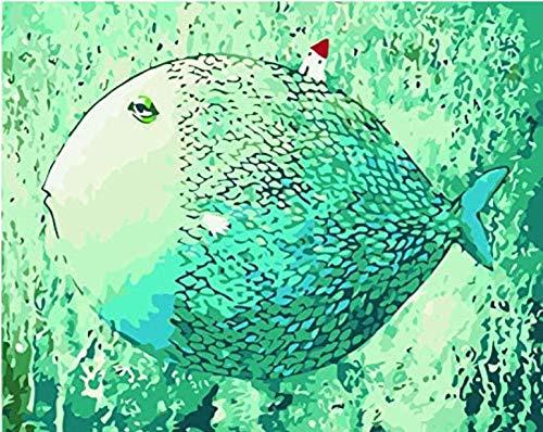 ezchamm DIY Ölgemälde nach Zahlen, Farbe nach Zahlen Kits - Wandkunst Gemälde Home Wohnzimmer Büro Valentine Dekorationen Geschenke Topf Bauch Fisch 16 * 20 inches(Without Frame)