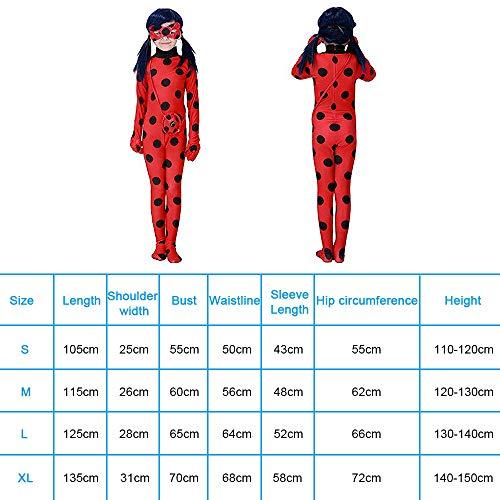 URAQT Ladybug Costume , Miracolosa Coccinella Ragazze, Costumi Cosplay di Carnevale e Halloween, Set 3 Pezzi Vestiti Siamesi, Maschera per Gli Occhi, Piccola Borsa, M per 4-6 Anni