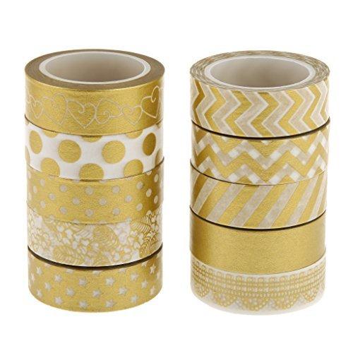 CMOO6Y 10x Gold Series Washi Sticky Paper Masking adhesive tape scrapbooking DIY