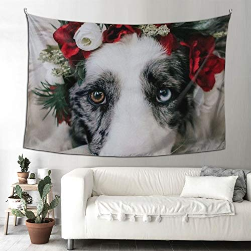 Tapestry Wall Hanging Dog With Garland Durable Mural Tapestries For Bedroom Room Dorm Wall Decor 90x60 In