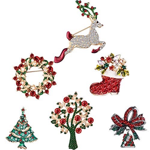 Hicarer Christmas Brooch Pin Set Rhinestone Crystal Cute Christmas Pins for Christmas Decorations Including Bells, Reindeer, Christmas Tree, Garland, 6 Pieces (Christmas Reindeer)
