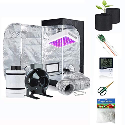 "Supergrower Indoor Grow Tent + 600W LED Full Spectrum Grow Light Complete Kits for Indoor Plants 4 Inch Fan and Filter Ventilation System Inlcuded (4"" Fan Filter+600W LED Light+Grow Tent 32"" X32""X60)"