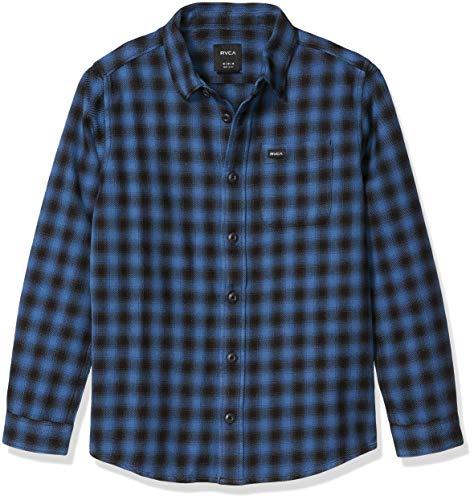 RVCA Jungen Telegraph Long Sleeve Woven Front Shirt Button Down Hemd, blau, Groß