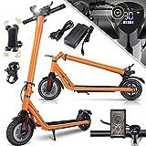 KESSER® Elektro Scooter 700 W E-Scooter mit APP & Bluetooth E-Roller Elektroroller Faltbar 9,5 Zoll Reifengröße bis zu 30 km/h Aluminium Klappbar max. Belastung 120kg, LED Anzeige Akku Orange
