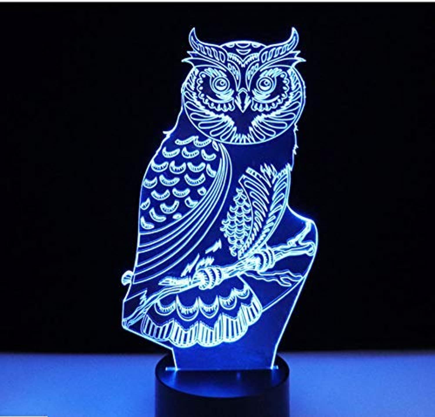 BMY 3D Led Night Lights Spiritual Owl with 7 colors Light for Home Decoration Lamp Amazing Visualization Optical Illusion Awesome