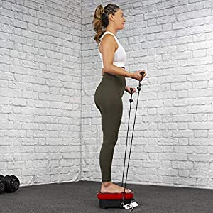 XtremepowerUS Fitness Vibration Platform Whole Body Vibration Machine Crazy Fit Plate with Remote Control & (2) Resistance Bands