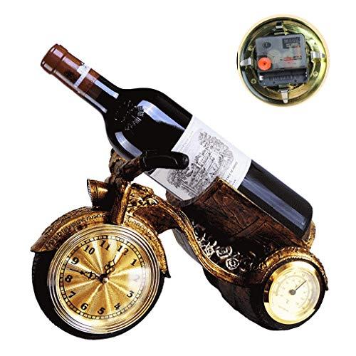 Zheng Hui Shop Wine Rack Bar Cremagliera del Vino Decorazione Multi-Funzione Ristorante Armadietto del Vino Decorazione con Orologio E Termo-igrometro (Color : Bronze, Size : 28 * 14 * 18cm)