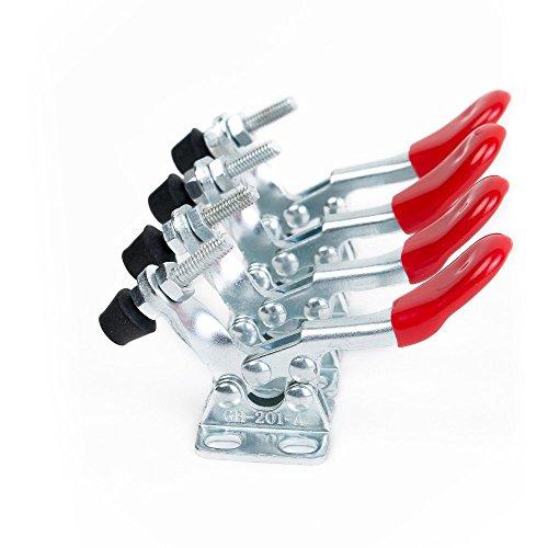 IMAGINE 4Pcs Toggle Clamp 201A Hand Tool 60Lbs,27Kg Fassungsvermögen Antislip Quick Release Metall Horizontal Schnellspanner