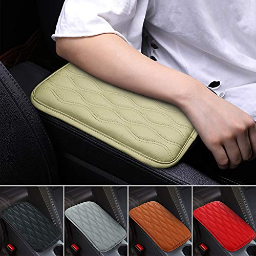 SUHU Universal Buff Auto Center Console Cover Pad Fit for SUV/Truck/Car, Waterproof Car Armrest Seat Box Cover, Leather Auto Armrest Cover