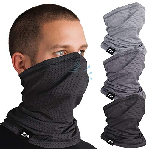 3 Pack Cooling Neck Gaiter for Men Summer Sun Dust Protection Fishing Balaclava Face Mask Scarf Running Breathable Elastic Gator Neck Face Masks Headband Bandana Face Cover Gator Mask with Filters