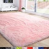 Pink Area Rug for Girls Bedroom,Fluffy Shag Rug 4'X6'...