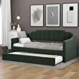 P PURLOVE Upholstered Twin Daybed with Trundle Living Bed No Box Spring Needed, Green