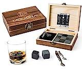 Liquora Whiskey Stones Gift Set, 9 Granite Whisky Rocks in Handmade Wooden Box