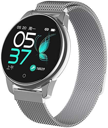NMQQ Smart-Sportuhr, Frauen Männer intelligente Uhr, Puls-Oximeter kann den Blutdruck, Herzfrequenz-Monitor Uhren, Uhren, Fitness, Android von IOS messen,Silber