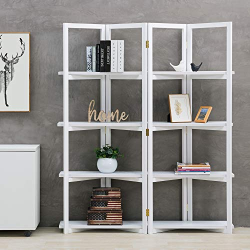 MyGift 4-Panel Open Bookcase White Wood Room Divider with 4 Shelves