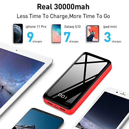 Portable Charger Power Bank 30000mAh Bextoo High-Speed 2 USB Ports with Full LCD Digital Display Compatible with Smart Phone, Android Phone, Tablet and More