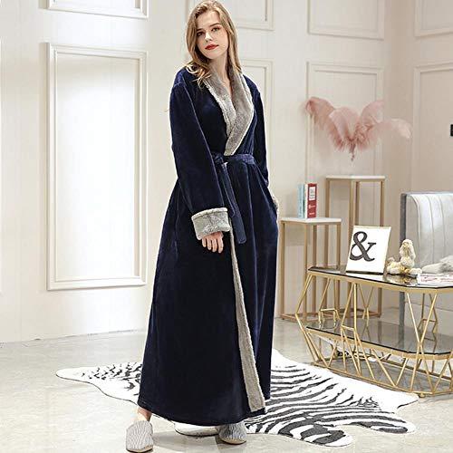 Lili Men Winter Plus Size Long Cozy Flannel Bathrobe Kimono Warm Coral Fleece Bath Robe Night Fur Robes Bata Mujeres Ropa de Dormir, Mujeres sin Capucha Azul Marino, M