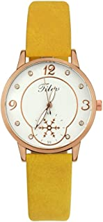 NXDA Quartz leather strap watch fashion casual women's wrist watch time double analog easy to read simple style dial (Yellow)