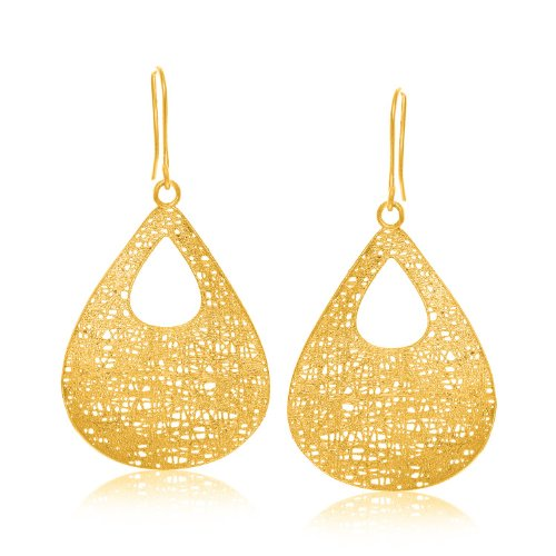 14K giallo oro pizzo stile orecchini pendenti a goccia