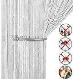 AIZESI Liqy Retro PlainTassel Door Curtain Fly Insect Bug Screen String For Doorways Divider or Window Curtain Panel 90x200cm, Fly Screen Panel