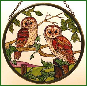 Decorative Hand Painted Stained Glass Window Sun Catcher/Roundel in a Barn Owls Design.
