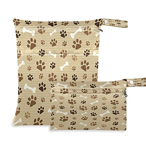 Tropicallife 2 bolsas húmedas secas impermeables para perro, con dos bolsillos con cremallera, para viajes, playa, piscina, guardería, yoga, gimnasio, bolsa lavable para trajes de baño, ropa mojada