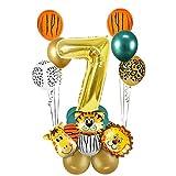 MMTX 7.Dschungel Geburtstag Dekoration Set, 7 Jahre Kindergeburtstag Deko, Gold 7 Luftballons Safari...