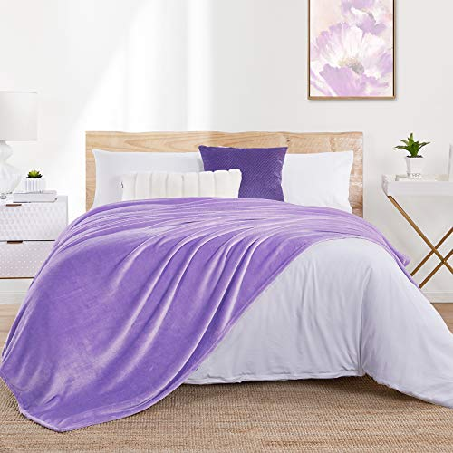 "Walensee Fleece Blanket Plush Throw Fuzzy Lightweight (Twin Size 60""x80"" Lavender) Super Soft Microfiber Flannel Blankets for Couch, Bed, Sofa Ultra Luxurious Warm and Cozy for All Seasons"