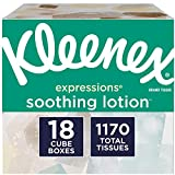 Kleenex Expressions Soothing Lotion Facial Tissues, 18 Cube Boxes, 65 Tissues Per Box (1,170 Tissues Total), Coconut Oil, Aloe & Vitamin E