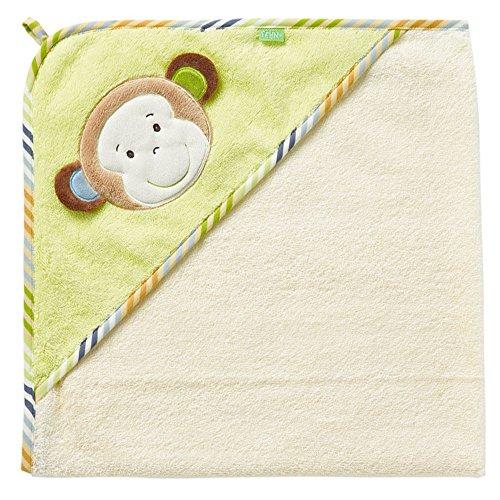 Fehn 081466 Kapuzenbadetuch Affe / Bade-Poncho aus Baumwolle mit Affen Motiv für Babys und Kleinkinder ab 0+ Monaten / Maße: 80x80cm