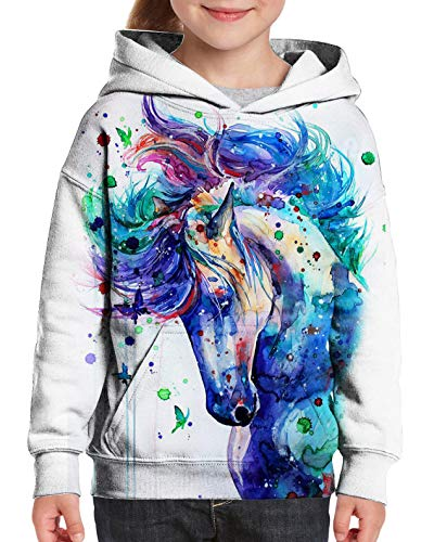 Little Boys Cool Paint Unicorn Hoodies 3D Graffiti Painting Hooded Sweatshirts for Junior Girls White Pullover Fleece Sweater Shirts Activewear Sports Running Hoodie Hoody 5-6 Years