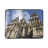 JEOLVP Catedral Santiago De Compostela Estera de Manta portátil y Plegable de 60x78 Pulgadas Estera práctica para Acampar Playa de Picnic Viaje al Aire Libre en el Interior
