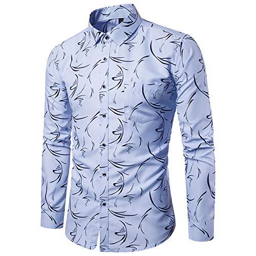 Herrenhemden, Langarm Baumwolle Herren Freizeithemd Herrenhemd Mit Blumenmuster Vollknöpfe Atmungsaktiv No Fade Anti-Falten Herren Fancy Tops