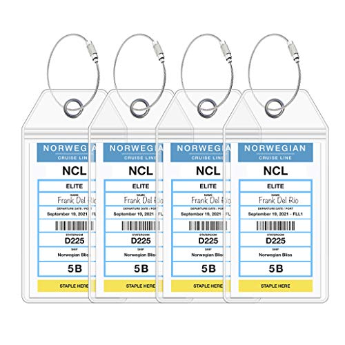 NCL Luggage Tag Holders by Cruise On - Fits All Norwegian Cruise Line Ships & Tags for Cruises in 2020 & 2021