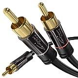 KabelDirekt 10m Cable RCA Coaxial, Audio Estéreo Digital, 1 Conector RCA Macho a 2 Conectores RCA Macho, Cable Subwoofer, para cine en casa, PRO Series y 50m Cable de Altavoces 2x2.5mm²