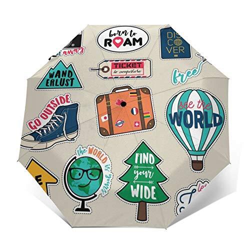 TISAGUER Regenschirm Taschenschirm,Großer Baum,Globus,Heißluftballon,Kamera,Auf Zu Automatik,windsicher,stabil