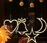 4 Piezas Luz de Ventana Navidad para Colgar en la Ventana con Ventosa Blanca Cálida LED árbol...