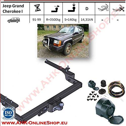 AHK Anhängerkupplung mit Elektrosatz 13 polig für Jeep Grand Cherokee 1992-1999 Anhängevorrichtung Hängevorrichtung - starr, mit angeschraubtem Kugelkopf