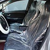 COOLPEEN Lot de 100 housses de siège de voiture jetables en plastique transparent pour voiture, avion, restaurant, bus