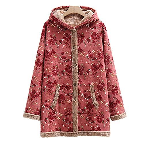 Pianshanzi Abrigo de invierno para mujer, de Coats, con capucha, diseño de flores, con capucha, bolsillos vintage, de gran tamaño, forro polar, con cremallera, rojo, XXXL