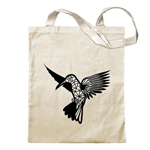 Kiwistar Polygon Kolibri Figur Tier Art Tragetasche Baumwolltasche Stoffbeutel Umhängetasche Langer Henkel
