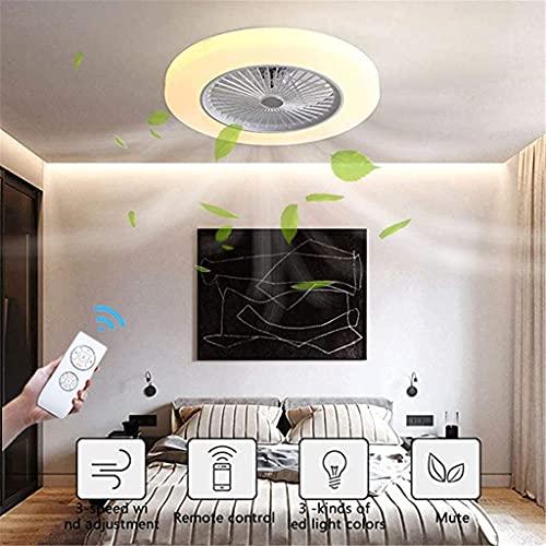 HMMHHE Fanáticos de la luz del techo con iluminación 40W Moderno invisible ventilador LED Luz de techo Control remoto regulable Ultra-silencioso Ajustable Can Timing Fan A Chandelier Sala de estar Lám