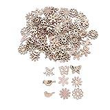 Amosfun 100 piezas formas de madera recortes pájaros de flores mariposas artesanales adornos de rebanadas de madera para manualidades diy etiquetas de regalo confeti de mesa