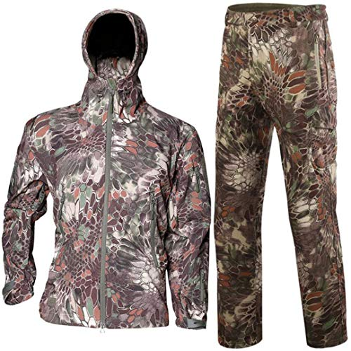 Tactical Softshell Camouflage Jacket Set Men Waterproof Huntingclothes Set Mountain Python XXXL