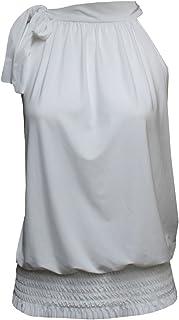 Momo&Ayat Fashions Ladies Tie Back Halterneck Draped Elastic Shirred Wait Blouse Top AUS Size 8-26
