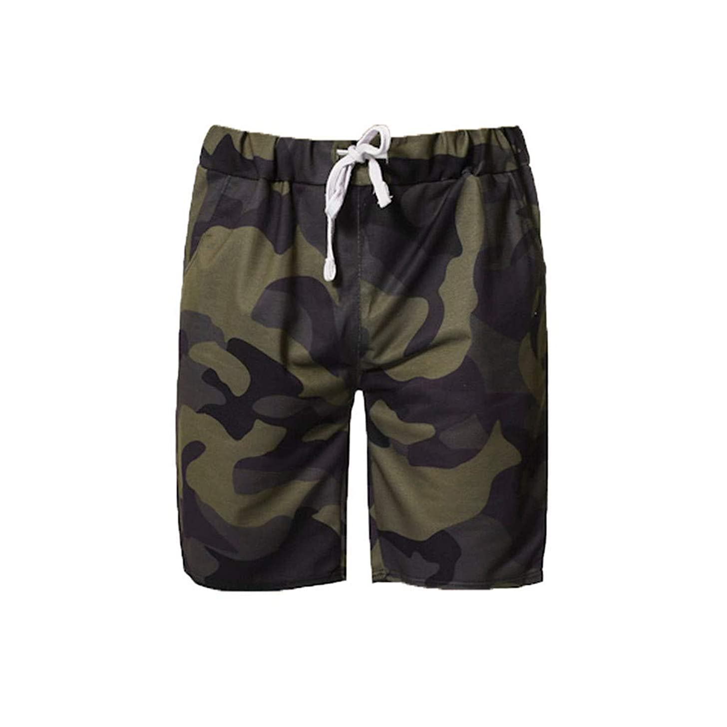 LUCAMORE Men's Camouflage Outdoor Shorts Elastic Waist Drawstring Jogger Gym Active Shorts