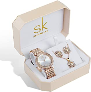 Women Watch Sets 3 Piece Jewelry Gift Set Quartz Wrist Watches with Earring and Necklace Christmas Valentine's Day Gifts